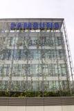 Samsung-bedrijfembleem bij hoofdkwartier de bouw Royalty-vrije Stock Foto's