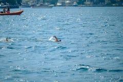 Samsung Bosphorus Kors-kontinentalt simninglopp 2018 royaltyfri fotografi