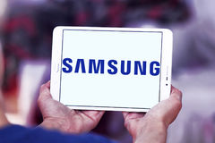 Samsung company logo. Logo of electronics company samsung on samsung tablet Royalty Free Stock Photos