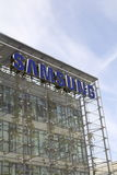 Samsung company logo on headquarters building Royalty Free Stock Photo