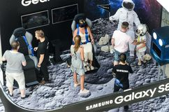 Samsung exhibition stand of virtual reality Stock Photos