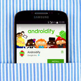 Samsung Galaxy S4 displaying Androidify app Royalty Free Stock Photography