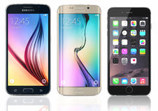 Samsung Galaxy S6 and Edge and iPhone 6 Royalty Free Stock Photo