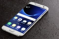 Samsung Galaxy S7 Edge white pearl Royalty Free Stock Photo