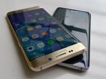 Samsung galaxy s6 edge full desain edge. Samsung galaxy s6. Ram 4gb internal troge 32gbnNice desain n see interestnFingerscan n4g lte selluler Royalty Free Stock Photography