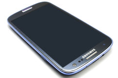 Samsung Galaxy S3. Isolated. The smartphone runs off the latest Android OS, Ice Cream Sandwich (4.0.4), and is powered by a 1.4 GHz quad-core processor, a 2100 Royalty Free Stock Image