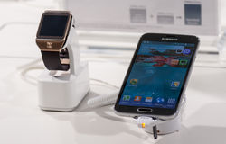 SAMSUNG GALAXY S5 & SAMSUNG GEAR 2, MOBILE WORLD CONGRESS 2014 Stock Photo