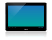 Samsung Galaxy Tab 2 10.1. The new Samsung Galaxy Tab 2 illustration. Front view of a Samsung Galaxy Tab 2 android tablet isolated on white background Stock Image