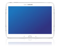 Samsung Galaxy Tab 3 10.1. The new Samsung Galaxy Tab 3 illustration. Front view of a Samsung Galaxy Tab 3 android tablet isolated on white background Royalty Free Stock Photos