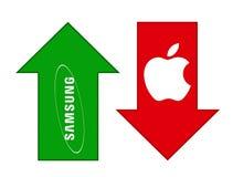 Samsung grows, Apple falls stock illustration