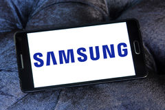 Samsung logo. Logo of samsung company on samsung mobile phone a5 royalty free stock photo