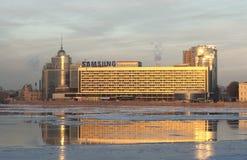 Samsung logo on the Hotel Saint-Petersburg. Saint-Petersburg. Russia Royalty Free Stock Photo