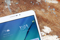 Samsung marquent sur tablette Photographie stock
