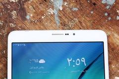 Samsung marquent sur tablette Photographie stock libre de droits