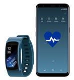 Samsung-Melkweg S8 en Smartwatch-Toestelpasvorm Royalty-vrije Stock Foto's