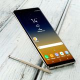 Samsung Note 8. Koszalin, Poland – 24 October, 2017: Samsung Galaxy Note 8 on white background. Samsung Note 8 are new generation smartphone from Samsung royalty free stock photography