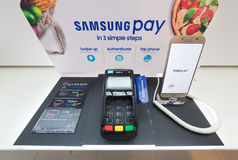 Samsung Pay in Low Yat Plaza, Kuala Lumpur. KUALA LUMPUR - MARCH 13, 2017: Samsung Pay advertisement in Low Yat Plaza. It is a mobile payment and digital wallet Royalty Free Stock Photo