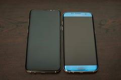 Samsung s8 συν και s7 άκρη Στοκ Φωτογραφίες