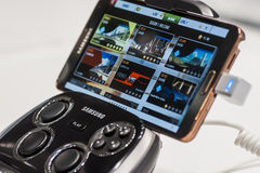 SAMSUNG S CONSOLE WITH GALAXY NOTE 3, MOBILE WORLD CONGRESS 2014 Stock Photos