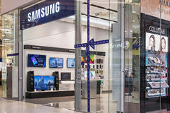 Samsung Showcases salon in the mall Aviapark Royalty Free Stock Photo
