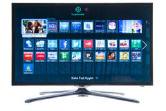 Samsung smart TV and social media Stock Photos