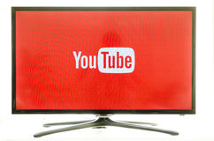 Samsung smart TV and Youtube Stock Photo