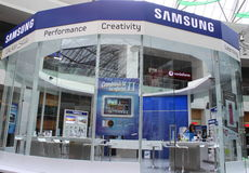 Samsung stand. With with the latest occurrences in the field of mobile phones and cameras in Afi Palace Cotroceni,Bucharest,Romania Royalty Free Stock Photo