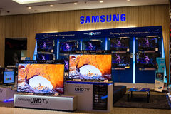 Samsung stand in Siam Paragon Mall. Bangkok, Thailand. Royalty Free Stock Photos