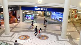 Samsung store inside shopping mall stock footage