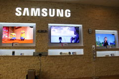 Samsung TVs store. In Bucharest,Romania Stock Images