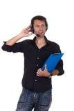 Samtal över hörlurar Arkivfoton