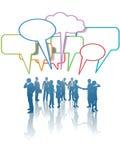 samtal för folk för nätverk för affärskommunikationsmedel Arkivfoto
