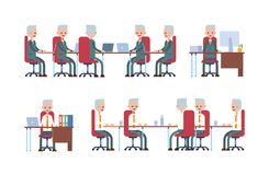 samtal för möte för bärbar dator för skrivbord för affärsaffärsmancmputer le till att använda kvinnan göra sig till, medan sitta  vektor illustrationer