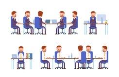 samtal för möte för bärbar dator för skrivbord för affärsaffärsmancmputer le till att använda kvinnan göra sig till, medan sitta  royaltyfri illustrationer