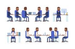 samtal för möte för bärbar dator för skrivbord för affärsaffärsmancmputer le till att använda kvinnan göra sig till, medan sitta  stock illustrationer