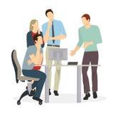 samtal för möte för bärbar dator för skrivbord för affärsaffärsmancmputer le till att använda kvinnan stock illustrationer