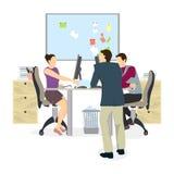 samtal för möte för bärbar dator för skrivbord för affärsaffärsmancmputer le till att använda kvinnan vektor illustrationer