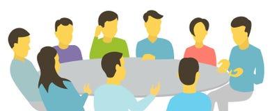 samtal för rund tabell Lagaffärsfolk som möter personer för konferens nio Vit vektor för bakgrundsmaterielillustration Arkivbilder