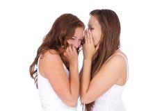 Samtal för två le ungt flickvänner Arkivfoton