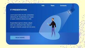 Samtal för vektormanhögtalare om det Ny Företag projektet stock illustrationer