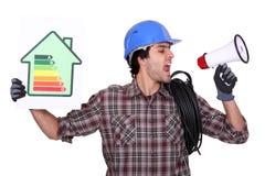 Samtal om energieffektivitet arkivbild