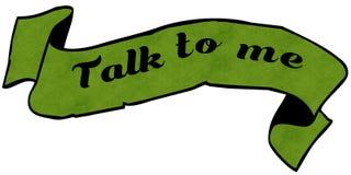 SAMTAL TILL MIG grönt band royaltyfri illustrationer
