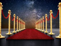 Samtfesseln und goldene Sperren entlang dem roten Teppich Abbildung 3D lizenzfreie abbildung