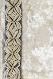 Samthintergrund und weiße Seashells Stockfotos