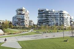 samtida bostadsspain för arkitekturbarcelona byggnad stil royaltyfria bilder
