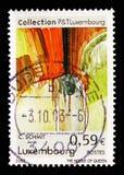 Samtida konst målningserie, circa 2002 royaltyfri bild