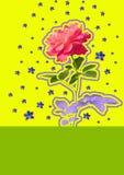 Samtida konstcollage med den härliga rosen och orkidén på färgrik abstrakt bakgrund royaltyfri foto