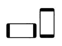 Samtschwarze Plusmodellschablone Apple-iPhone Smartphones 7 Lizenzfreie Stockfotos
