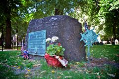 Samuel adams tombstone. In boston, usa stock image