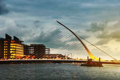 Samuel Becket Bridge at sunset in Dublin Stock Image
